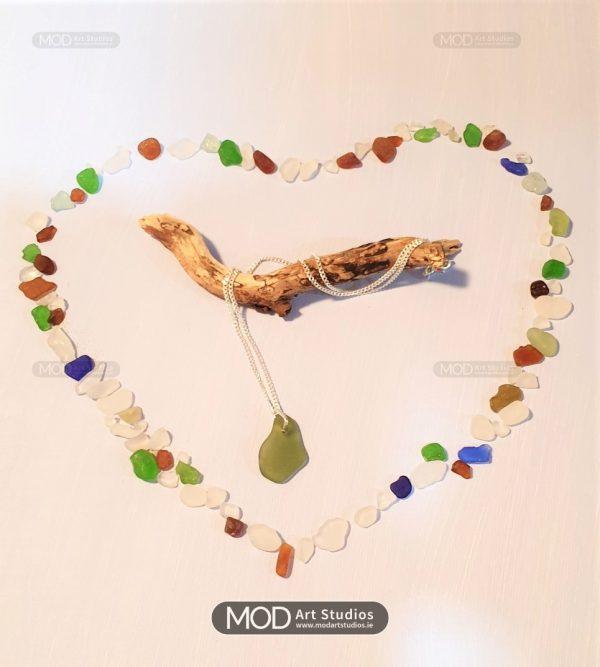 Sage Green Sea Glass Pendant