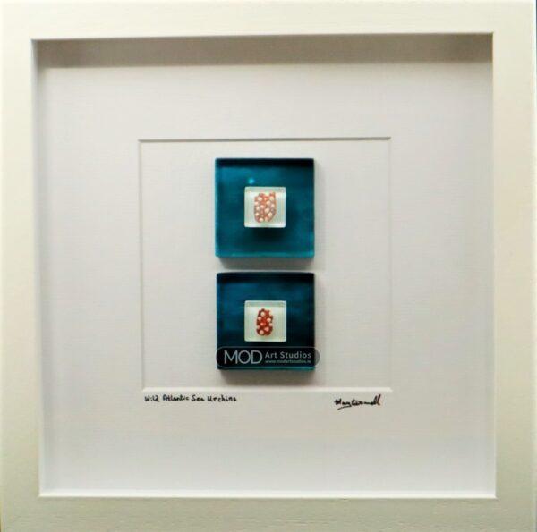 MOD ART - Wild Atlantic Collection Sea Urchin Shells on Hand Painted Glass